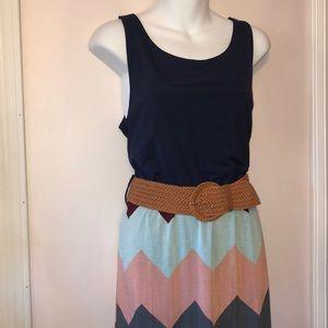 Chevron Maxi dress with belt